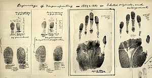 Anthropometry - An early set of finger- and handprints by Sir William Herschel, 2nd Baronet (1833–1917)