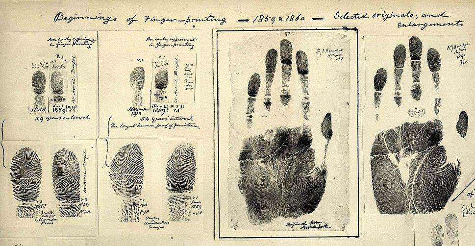 Fingerprints taken by William James Herschel 1859-1860