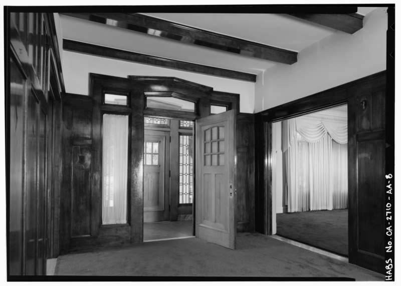 File:First floor entry stair hall, looking south towards entry vestibule. - Agnews State Hospital, Superintendent's Residence, North Side of Palm Drive, Santa Clara, Santa Clara HABS CAL,43-SANCLA,6AA-8.tif