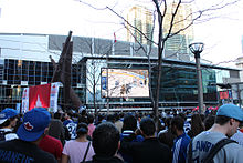 Fans gather at Maple Leafs Square during the playoffs.