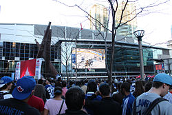 Fans watching the Toronto Maple Leafs play the Boston Bruins in game 2 of the Eastern Conference Quarterfinals in the 2013 Stanley Cup playoffs