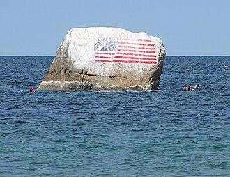 White Horse Beach, Massachusetts - Flag Rock lies off shore White Horse Beach in Plymouth, Massachusetts.