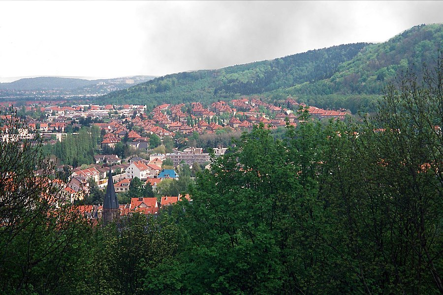 Forbach, view from the castle mountain to the city