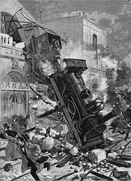 El accidente de la estación de Montparnasse, grabado de Fortuné-Louis Méaulle.