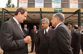 Andrés Manuel López Obrador - López Obrador (center) with President Vicente Fox (left) and México State governor Arturo Montiel (right) in June 2003