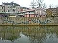 Fränkische Saale - Verlauf an der Mauer angebracht (Bad Kissingen).JPG