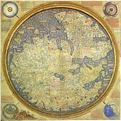 History of cartography wikipedia the fra mauro map one great medieval european map was made around 1450 by the venetian monk fra mauro it is a circular world map drawn on parchment and gumiabroncs Choice Image