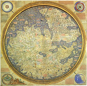 History of cartography - The Fra Mauro map, one great medieval European map, was made around 1450 by the Venetian monk Fra Mauro. It is a circular world map drawn on parchment and set in a wooden frame, about two meters in diameter