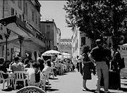 The cafe terrace, then Le Forum, in 1990
