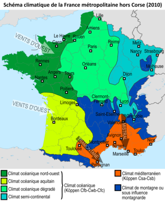 Climat de la france wikip dia for B b carte france