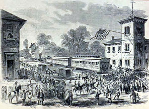 Frederick Branch (Baltimore and Ohio Railroad) - President Abraham Lincoln giving an address in Frederick on October 4, 1862, next to the station built in 1854, at East All Saints and Market Streets.