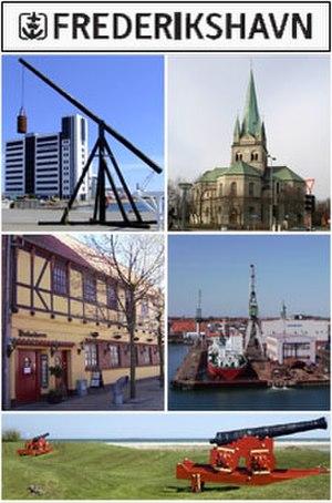 Frederikshavn - From upper left: Kattegat Silo, Frederikshavn Church, Havnegade, Port of Frederikshavn, Nordre Skanse