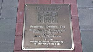 Treaty of Orebro - Memorial plate from 2012 about the Treaty of Örebro 1812