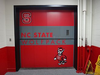 Elevator - Freight elevator at North Carolina State University. The doors open vertically.