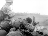 French foreign airborne 1st BEP firing with a FM 24/29 during an ambush (1952).