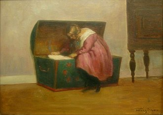 Hope chest - Girl inspecting her hope chest, by Poul Friis Nybo, c. 1900