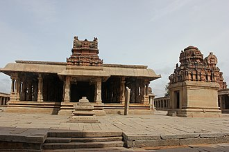 Vijayanagara architecture - Typical dravidian shrine and mantapa of the Vijayanagara period at Balakrishna temple in Hampi