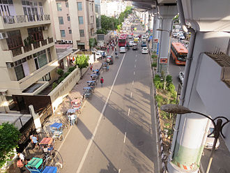 Greater Kailash - Main road in Greater Kailash-1 as seen from foot over bridge of Kailash Colony Metro Station
