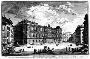 Palazzo della Cancelleria - Palazzo della Cancelleria: the 18th-century engraving by Giuseppe Vasi exaggerates the depth of the Piazza della Cancelleria in front of the Palace.