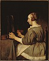 Gabriel metsu, ragazza allo specchio, 1662 ca. (cropped).JPG