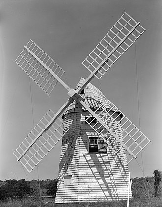 Gardiners Island Windmill - 1978 Historic American Engineering Record photograph of the windmill from the south.