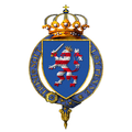 Garter encircled arms of Prince Ernest Ludwig of Hesse and by Rhine.png