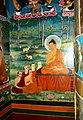 Gautama Buddha teaching his first sermon in the Deer Park, Sarnath. Wall painting Manali.jpg