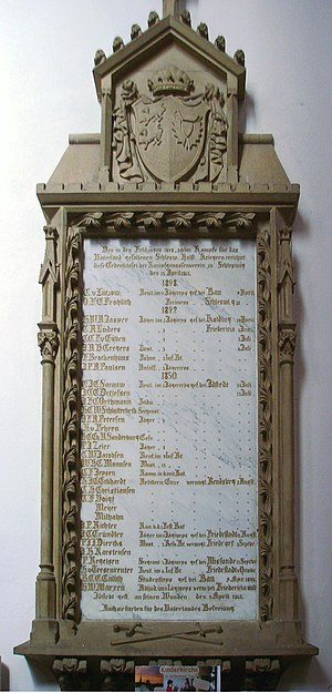 First Schleswig War - Roll of honour for the War in the cathedral of Schleswig