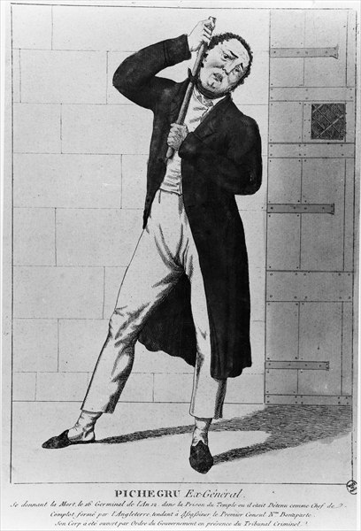 General Charles Pichegru (1761-1804) strangling himself in the Temple