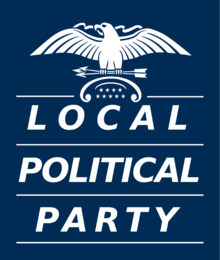 "A generic logo for a local political party, with the words ""Local Political Party"" in large text, each word with its own line."
