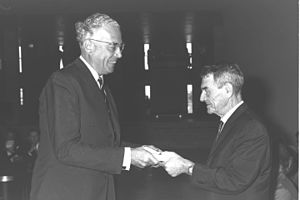 Geoffrey de Freitas - Geoffrey de Freitas with Kadish Luz at the Knesset new building inauguration ceremony, August 31, 1966.