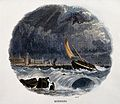 Geography; monsoons at sea, with rain. Coloured wood engravi Wellcome V0025039.jpg