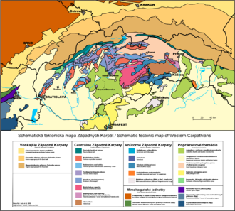 Western Carpathians - Geological map of Western Carpathians