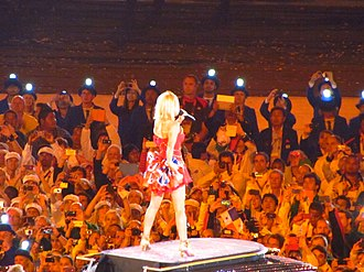 Geri Halliwell - Back view of Halliwell performing on the 2012 Summer Olympics closing ceremony