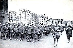 German prisoners of war in the Soviet Union - German POWs marching through the Ukrainian city of Kiev under Soviet guard.
