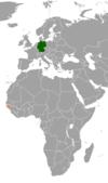 Lage von Deutschland und Guinea-Bissau
