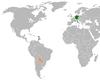 Lage von Deutschland und Paraguay