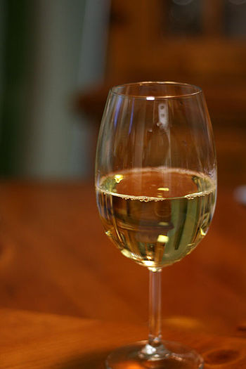 Gewürztraminer wine in glass