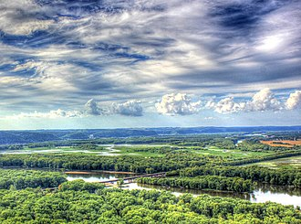 Wyalusing State Park - View of the Mississippi River valley at the confluence of the Wisconsin River from Wyalusing State Park