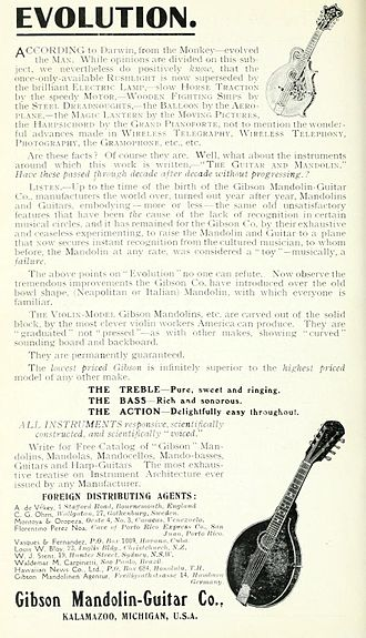 """Orville Gibson - 1914. Unsatisfactory features passed on year-after-year were gone. Gibson mandolins were """"evolved""""."""