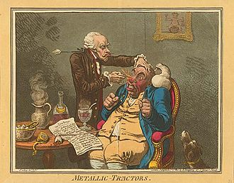 Placebo - A quack treating a patient with Perkins Patent Tractors by James Gillray, 1801. John Haygarth used this remedy to illustrate the power of the placebo effect.