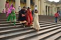 Girl Visitors Crossing Hazarduari Palace Stairs - Nizamat Fort Campus - Murshidabad 2017-03-28 6372.JPG
