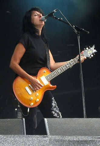 Girlschool - Lead vocalist Kim McAuliffe at Bloodstock Open Air 2009