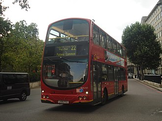 London Buses route 22 - London General Wright Eclipse Gemini bodied Volvo B7TL at Hyde Park Corner in August 2013