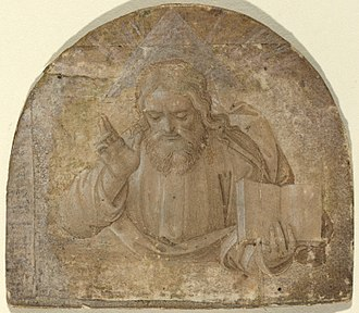 God the Father with His Right Hand Raised in Blessing, with a triangular halo representing the Trinity, Girolamo dai Libri, c. 1555 God the Father with His Right Hand Raised in Blessing.jpg