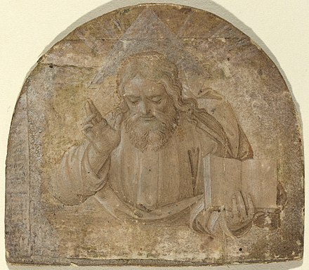 God the Father with His Right Hand Raised in Blessing, with a triangular halo representing the Trinity, Girolamo dai Libri c. 1555 God the Father with His Right Hand Raised in Blessing.jpg