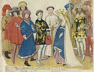 Jan van Boendale - Illustration from a manuscript of Boendale's Brabantsche yeesten