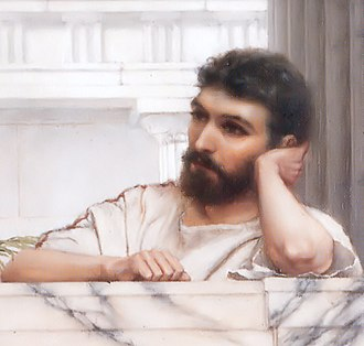 John William Godward - Possible self portrait. Detail from Waiting for an Answer (1889)