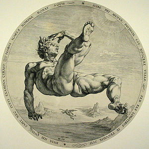 Icarus, engraving by Hendrick Goltzius