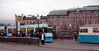 Gothenburg tram network - Gothenburg tram lines 4 (left) and 14 (right) meet at Centralstationen tram station.